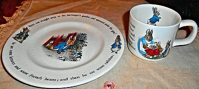 """Beatrix Potter""""PETER RABBIT""""Wedgewood Childs Plate & Matching Cup..England"""