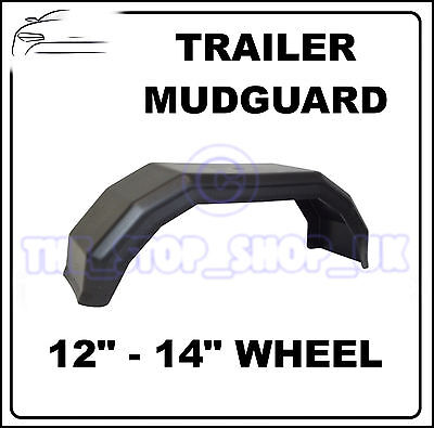 "Black Plastic 12-14"" Wheel Mudguard for Trailer x1 (Medium)"
