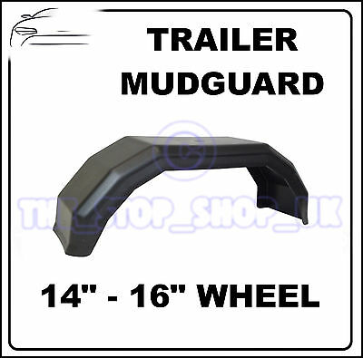 "Black Plastic 14-16"" Wheel Mudguard for Trailer x1 (Large)"