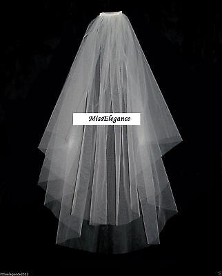 Ivory or white 2T  Wedding Bridal veil elbow Cut Edge with comb wedding veil