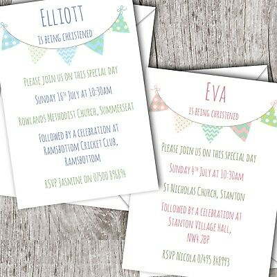 Personalised Invitations • Christening ~ Baptism ~ Naming Day • Girl/Boy Bunting
