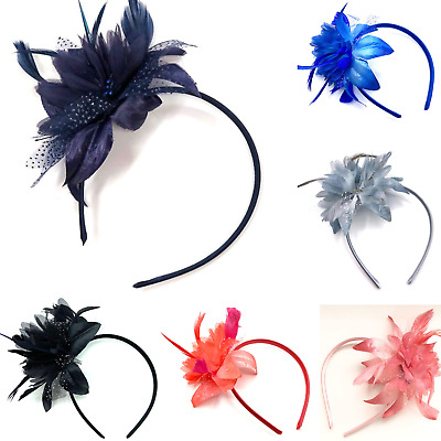 Feather Aliceband Fascinator Headband Weddings Ladies Day Race Royal Ascot 7