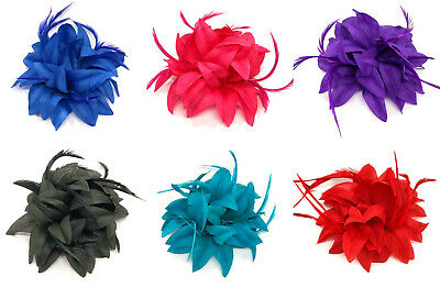 Flower Feather Fascinator Beak Clip Weddings Races Prom Ladies Fascinator 11