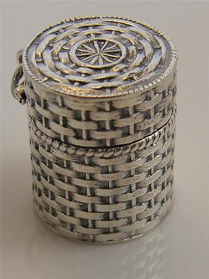 Embossed Sterling Silver Thimble Case