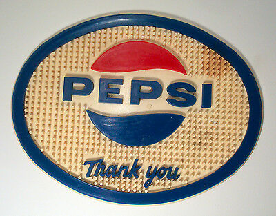 VINTAGE 1960'S OVAL PEPSI COLA SODA FOUNTAIN DISPENSER RUBBER BAR  AD SIGN  MAT
