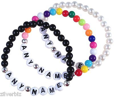 WHOLESALE 50 x Beaded Bracelets Personalised Your Own Words Colour Choice Joblot