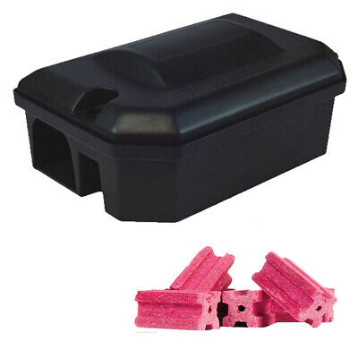 1 X PROFESSIONAL RODENT BAIT STATION BOX TRAP & 15 Bait Blocks Rat Mouse Mice