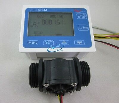 "G1"" Flow Water Sensor Meter+Digital LCD Display Quantitative Control 1-60L/min"