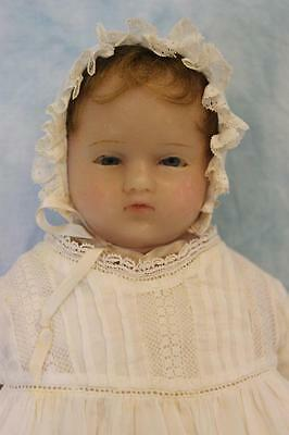 "Early 16"" Antique Poured Wax Doll 1880 Pierotti Look Glass Eyes Inserted Hair"