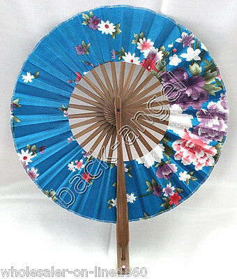 New Blue Chinese Japanese Floral Silk Bamboo Round Folding Hand Fan 8 inches