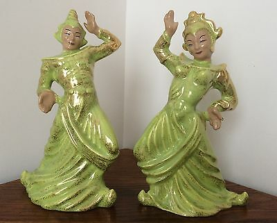 """Matching 1950's Balinese/Siam (Approx. 13¾"""") Dancers by Gilner, CA Pottery"""