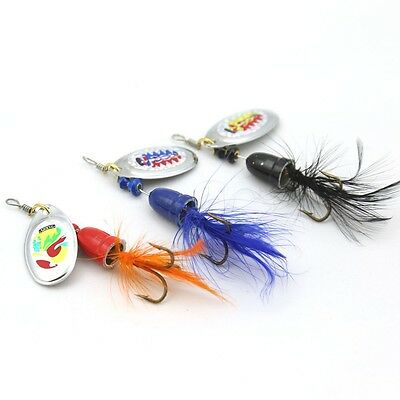 6pcs Newest Trolling Spinner Baits 6 Colors Assortment Feather Hooks Fish Baits