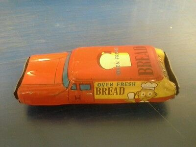 "Vintage '40s or '50s Japanese Tin Car ""Oven Fresh Bread"" Friction Wagon"