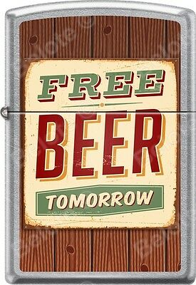 Zippo Free Beer Tomorrow Rusted Sign Street Chrome WindProof Lighter