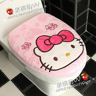 Pink Cute Hello Kitty Red Bow Toilet Seat & Lid Cover Set