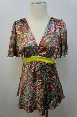 Hype Pink/Blue/Green Floral Design Short Sleeve V neck 100% Silk Blouse Sz L