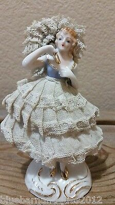 Woman Figurine Dresden Style Lace with Parasol Made in Japan