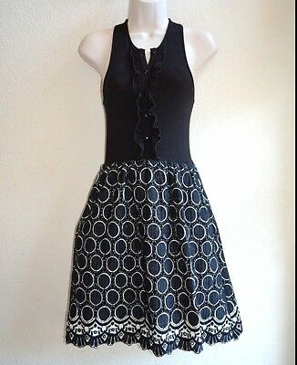 Weston Wear Dress Size 0 Annular Circle Crochet Anthropologie Black Ivory