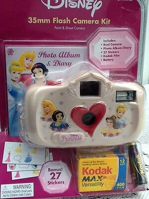 Disney Princess 35mm FLASH CAMERA  KIT  POINT & SHOOT CAMERA NIB KODAK FILM