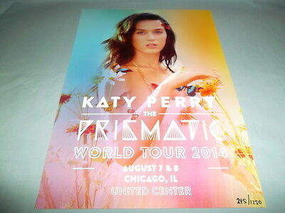 KATY PERRY NEW NUMBERED 245 CHICAGO IL LITHOGRAPH POSTER w/COA Prismatic Tour