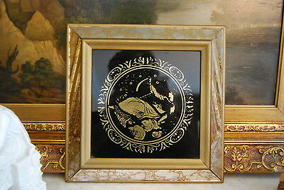 MID CENTURY LARGE BLACK MIRROR WITH GOLD WOMAN VENETIAN MIRROR PICTURE FRAME