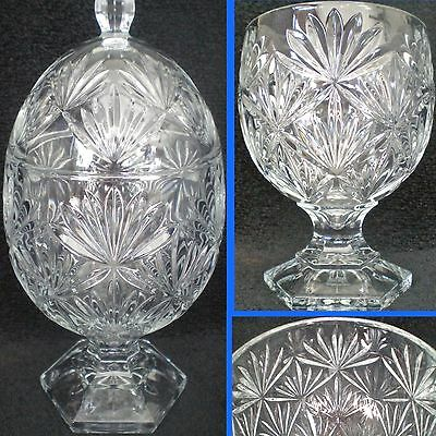 Exquisite Crystal Egg Shaped Candy Dish W/Lid Antique By Cristal D'Arques Durand