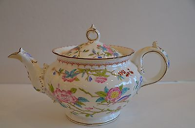 Minton Cuckoo Tea Pot 3934 White with pink, green, blue floral/bird design