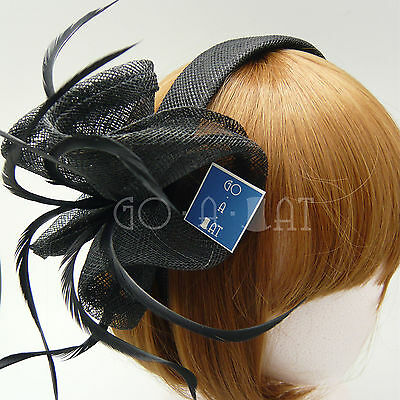Sinamay Hair Band Feather Wedding Bridal Races Cocktail Fascinators Hat