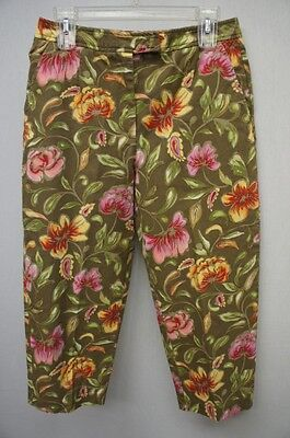 Talbots Green/Yellow/Pink/Red/Orange Floral Design Capris Sz 10P