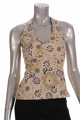 Angie Green/Pink/Black Floral Design Halter V Neck Blouse Sz L
