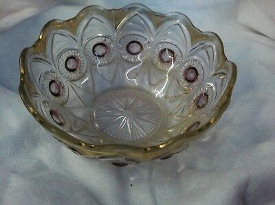 Early American BULLSEYE & FAN,CRYSTAL,RUBY STAIN EYE GOLD DECORATED SERVING BOWL