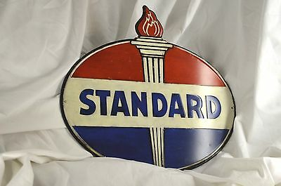 Embossed STANDARD GAS MOTOR OIL SIGN American Mobil Texaco Polly Esso Pump Can