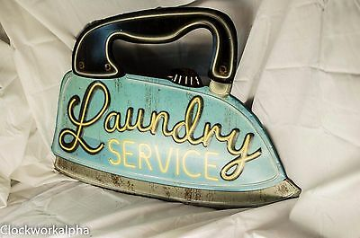 Embossed LAUNDRY SERVICE SIGN Iron Laundromat Detergent Washer Dryer Soap Mobil
