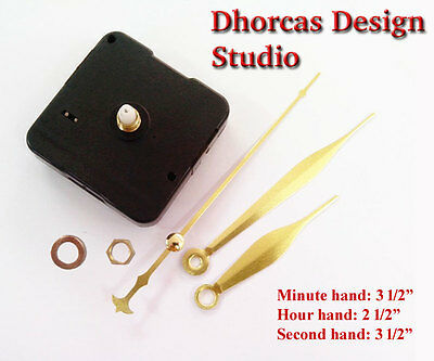"(#09) Quartz Clock Movement kit , 1/4"" threaded motor & gold 3.5"" hand"