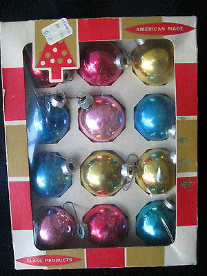 "Vintage Box of 12 Colby Different Color Glass Round Ornaments 1.5"" Original Box"