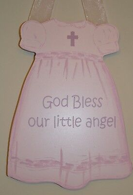 Baby Girl Nursery Wall Hanging God Bless Our Little Angel Easter Dress Gift