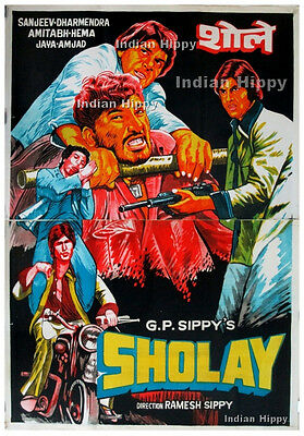 Sholay 1975 original old vintage hand painted Bollywood movie poster *TWO SHEET*
