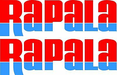Rapala split colour stickers 2 x 400 x 125  Red / Blue Avery Marine grade
