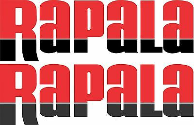 Rapala split colour stickers 2 x 400 x 125 Red / Black  Avery Marine grade