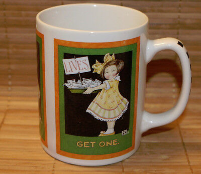 "Mary Engelbreit ""Lives Get One"" Little Girl Coffee Mug 4"" Job Notes In Basket"