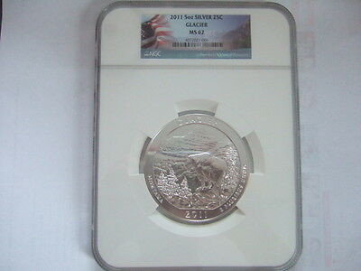 2011 5 OZ America The Beautiful Silver. Glacier NGC Graded MS 62