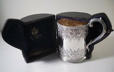 An Ornate Antique Solid Silver Mug & Case  : London 1869