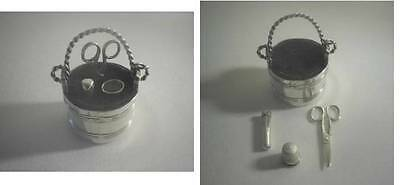 Rare Antique Silver Pin 'Pail' Cushion With Miniature Sewing Kit: Birmingham1906