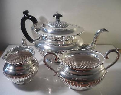 A Three Piece Sterling Silver Tea Service : USA c1910