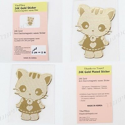 TPD 24K Gold Plated Anti Radiation Block Shield Cell Phone Sticker Cute Cat