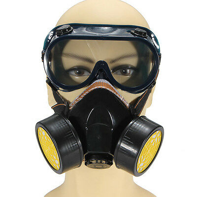 Anti-Dust Spray Chemical Gas Dual Cartridge Respirator Mask Goggles WS