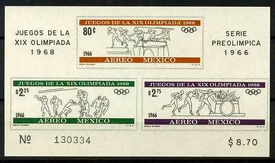 14-05-01240 - Mexico 1966 Sc.  975a SS 100% MNH- Wrestling, by Diego Rivera