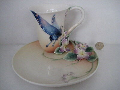 Superb Franz Porcelain Spotted Butterfly Large Cup Mug And Tennis Saucer Fz01670