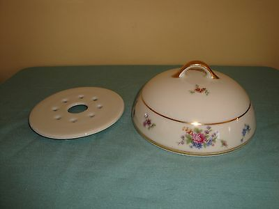 BAVARIA TIRSCHENREUTH QUEEN'S ROSE*GERMANY* butter dish cover cheese plate lid