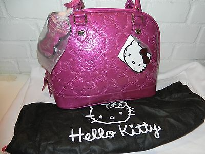 Hello Kitty Pink Patent Embossed Loungefly Satchel Tote + Dust Bag NWT $75